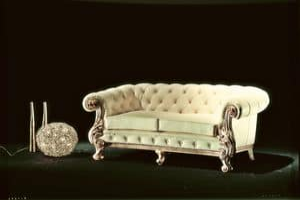 Manchester pelle 2 posti, Divano classico di lusso, imbottitura capitonné