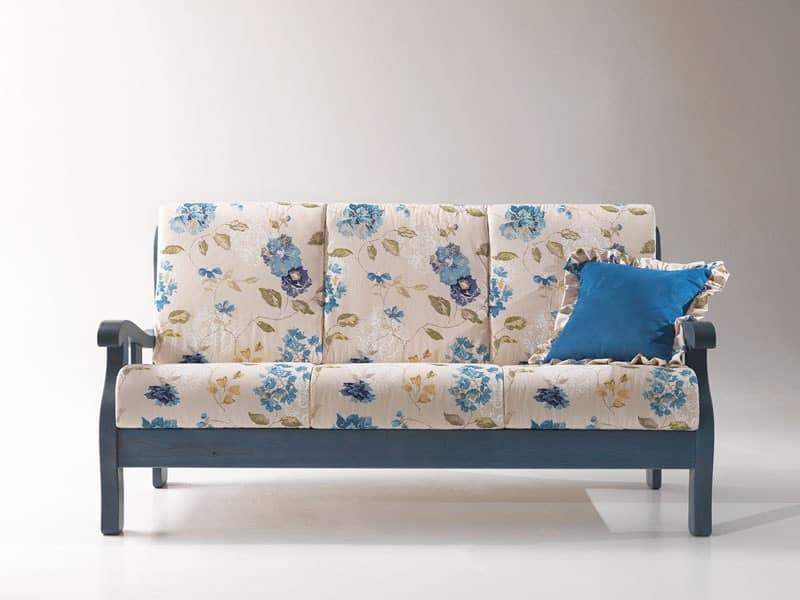 Michelangelo, divano rustico, divano in legno, divano in stile provenzale Taverna, Mansarda ...