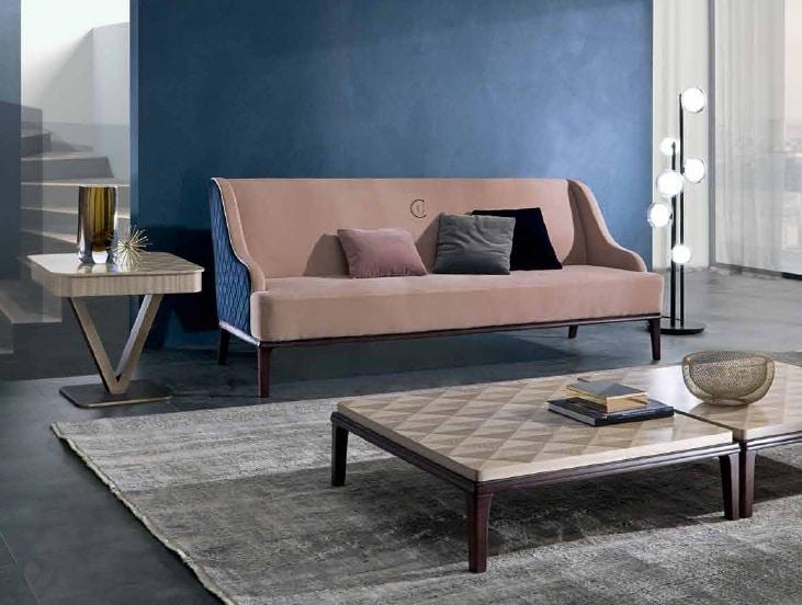 DI45 Square divano, Divano con imbottitura esterna con lavorazione a rombi