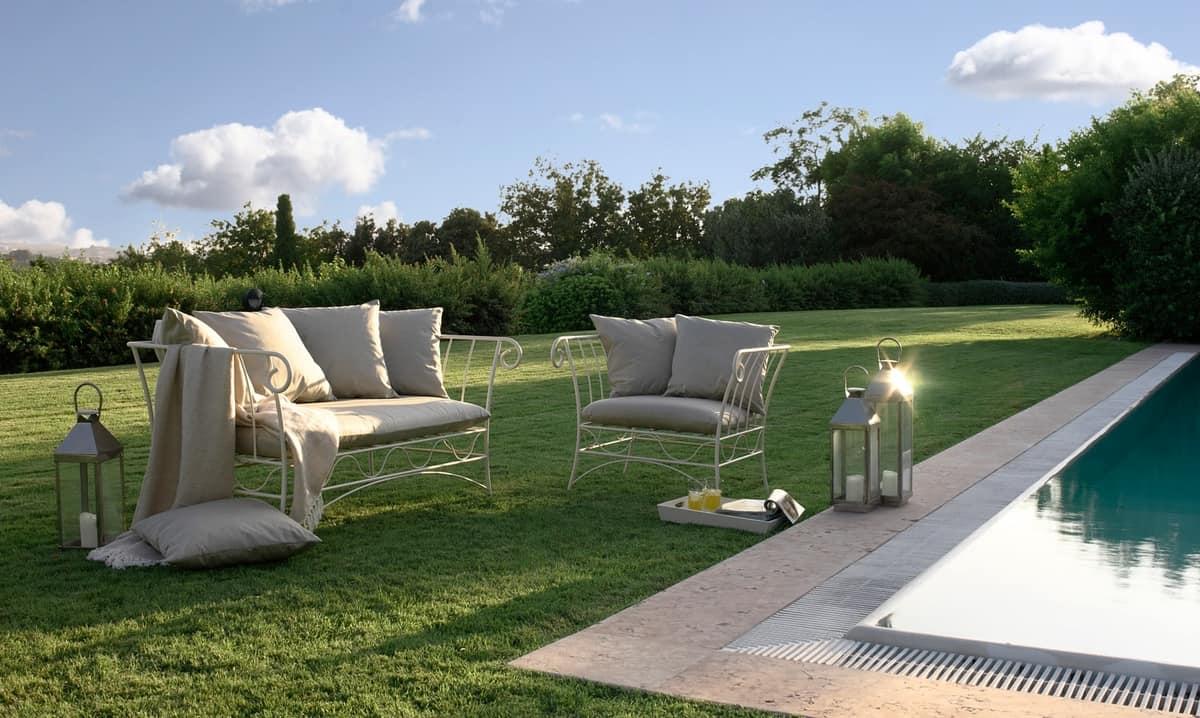 Bahamas new divano, Divano 3 posti, struttura in metallo, per salotto moderno