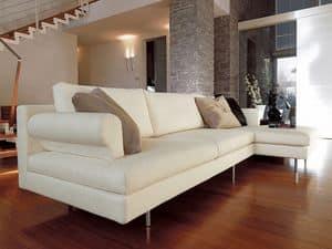 Brera angolare, Divanetto moderno con penisola, piedi cromati, per salotto