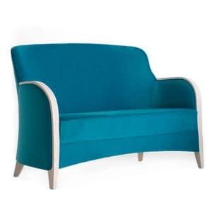 Euforia 00152, Divano in legno massicio, braccioli in legno, seduta e schienale imbottiti, stile moderno