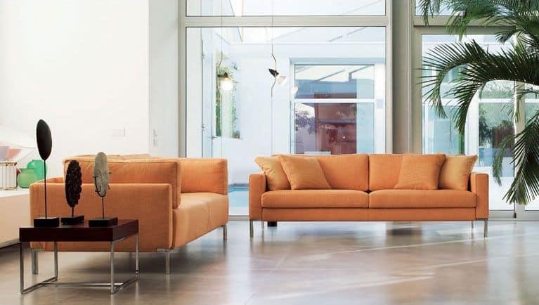 Ginger, Divano lineare con piedini in vista, per ufficio moderno