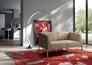 Kos divano, Divano con piedini in metallo per salotto moderno