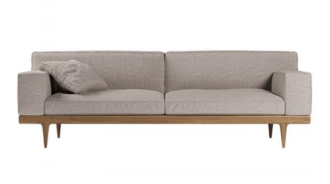 Sunday divano, Elegante divano con base in noce canaletto