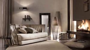 Twist sof�, Divano con struttura in ferro, schienale in fascie di pelle