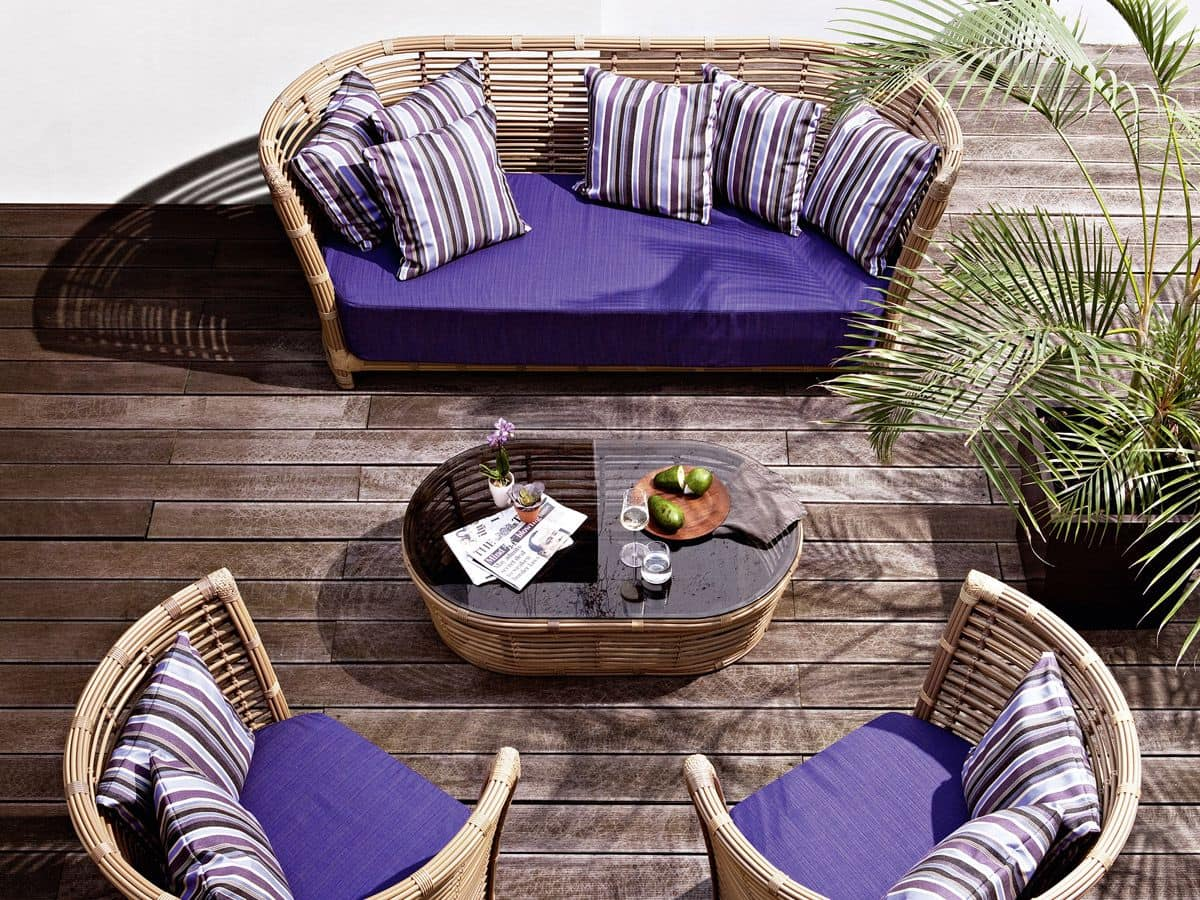 Tonkino divano, Divano intrecciato a mano, per giardino e terrazzo