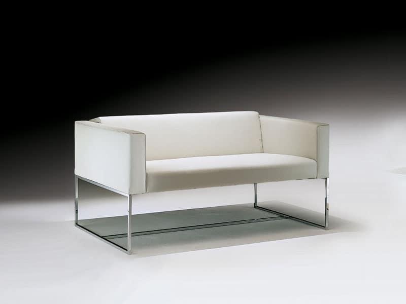 Square divanetto, Divanetto con tubolare quadrato in acciaio, per sala attesa