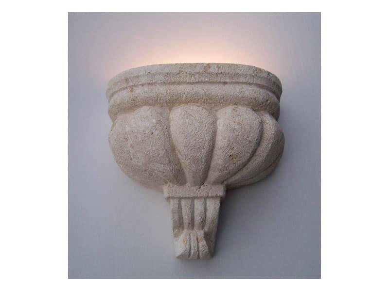 Agata, Lampada applique in pietra bianca di Vicenza, luce alogena