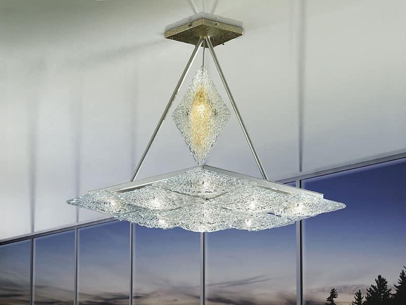 Alaska lampadario, Lampadario con elementi romboidali, stile colorato e fantasioso