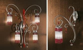 Casanova applique, Applique con pendagli muranesi, accessori in vari colori