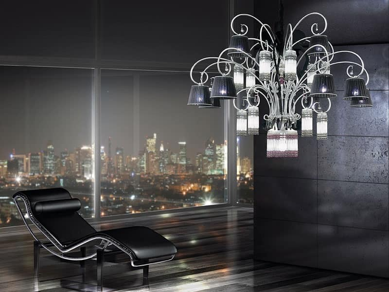 Casinò lampadario, Lampadario moderno con 25 luci, diffusori in organza