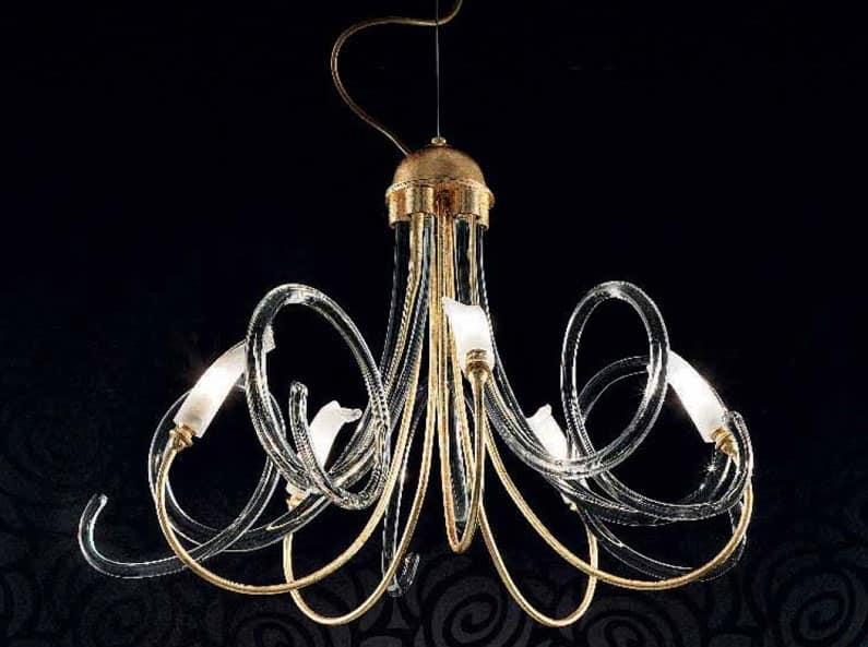 Chic lampadario, Lampadario con struttura in metallo, volute in vetro di Murano