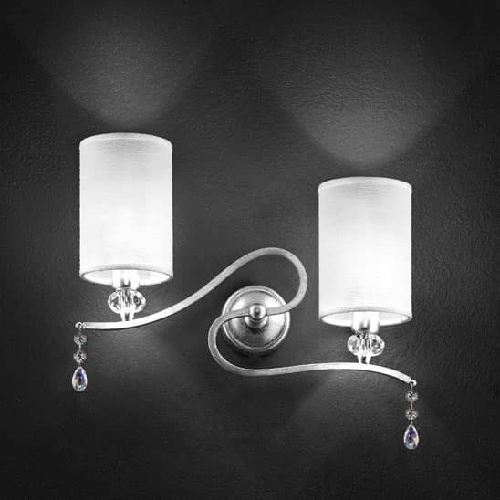 Delhia applique, Lampada da muro in metallo con 2 luci e pendenti sw