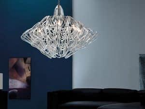 Diamante lampadario, Lampada a sospensione regolabile in altezza, vetro di Murano