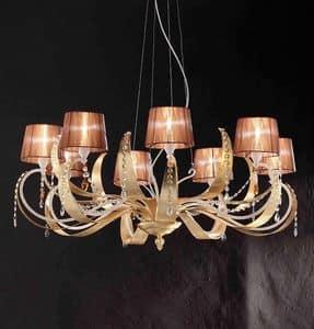Erica lampadario, Lampada sospesa in ferro con 8 luci, stile moderno