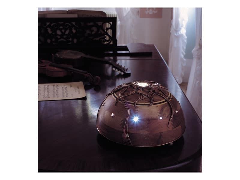Giunone, Lampada in noce con luce centrale a LED