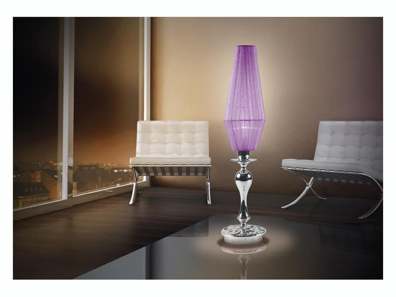 Karma lumetto, Lampada da scrivania con una luce, bobèches in vetro cromo