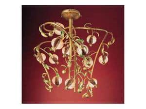 Melograno lampadario, Lampadario classico in metallo dorato e vetro craquel�