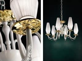Milady lampadario, Lampadario classico con bobeches in vetro metallizzato