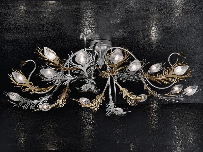 Musa plafoniera, Lampada da parete in ferro verniciato oro e cromo
