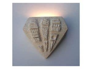 Pegaso, Lampada da parete in pietra, luce alogena