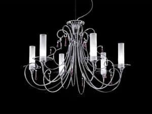Sinfonia lampadario, Lampadario con struttura in metallo cromato fatto a mano