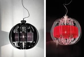 Sphera lampadario, Lampada moderna a sopensione con elementi in plexyglass