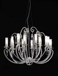 Valentina lampadario, Lampadario a 12 luci, bobeches e pendenti in cristallo