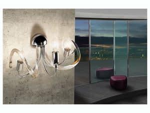 Vanity applique, Lampada da parete in ottone, diffusori in filo di vetro