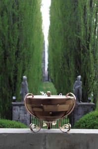 Venere, Lampada da terra a mezza sfera, decori in vetro di Murano