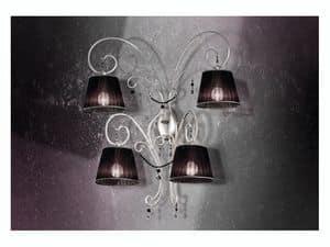 Venezia applique, Applique in ferro battuto con 4 luci e preziose collane