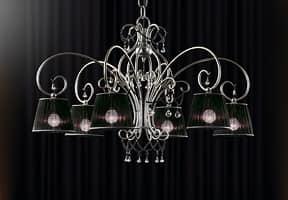 Venezia lampadario, Lampadario in ferro battuto a mano, collane in vetro di murano