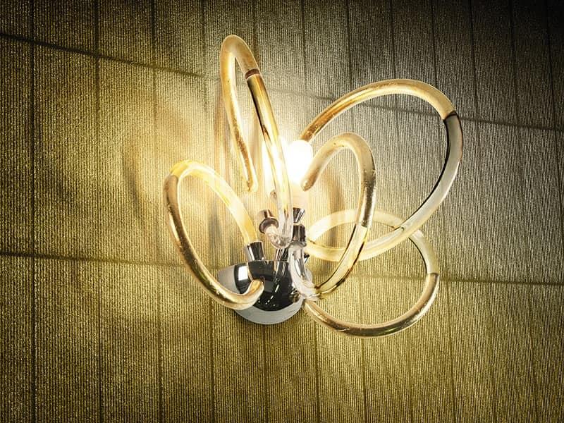 Lampada da parete in ottone with diffusori in filo di vetro  IDFdesign