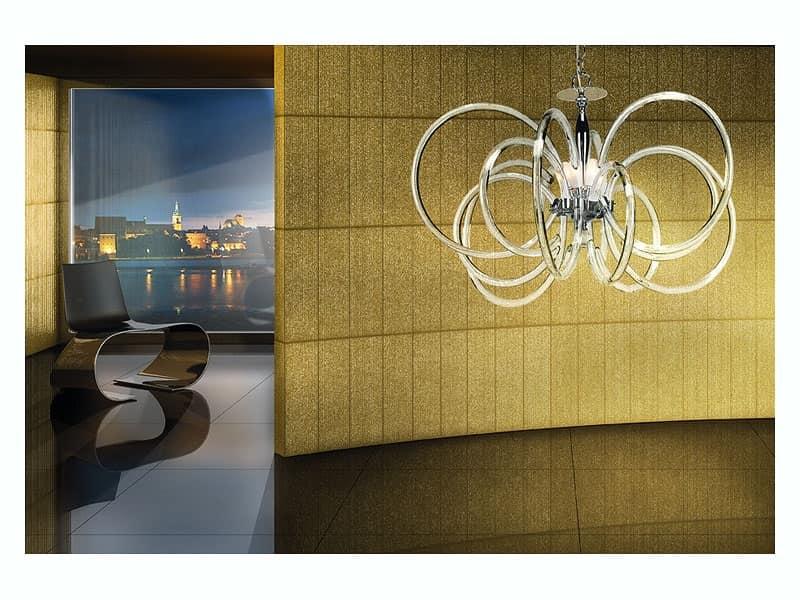 Vogue lampadario, Lampada a sospensione, in ottone con diffusori in vetro