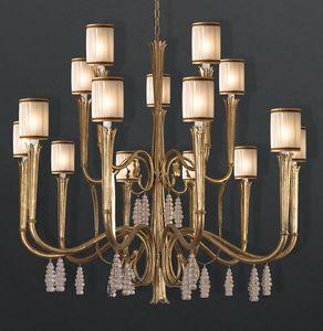 RIALTO HL1059CH-15, Lampdario in ferro con pendenti in cristallo