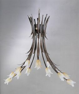 744114, Lampadario con diffusori a forma di fiore