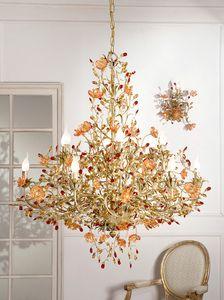 937112+10, Sfarzoso lampadario con vetri di Murano