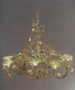 95218, Lampadario con foglie decorative