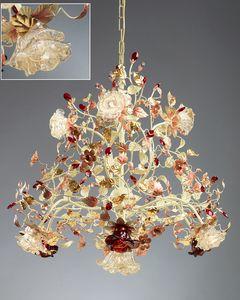986110, Lampadario con diffusori in vetro di Murano