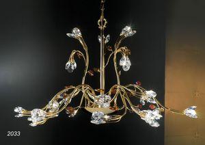 Art. 2033 Matisse, Lampadario in ottone dorato 24kt e cristallo