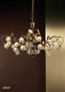 Art. 28020 Fior di Loto, Elegante lampadario decorato con fiori in vetro soffiato