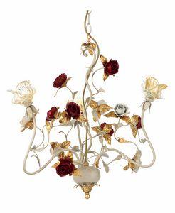 Claire LA/3, Lampadario con rose decorative