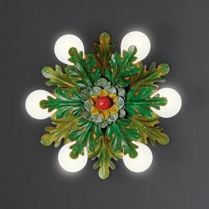 FOGLIE HL1064PL-6, Plafoniera in ferro con foglie decorative