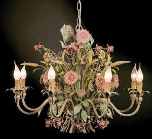 L.3521/8, Lampadario con decorazioni floreali in ferro battuto