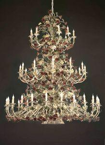 L.5105/24+12+9, Lampadario a 3 palchi con decorazioni floreali