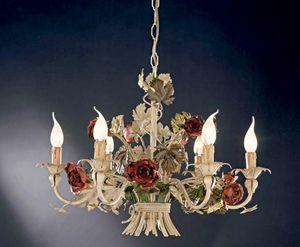L.5105/6, Lampadario con rose in ferro battuto