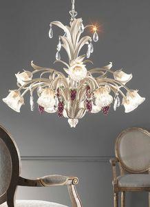 L.6030/8+4, Lampadario con decorazioni a forma di grappoli d'uva