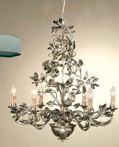 L.7400/6, Lampadario con foglie decorative in ferro battuto