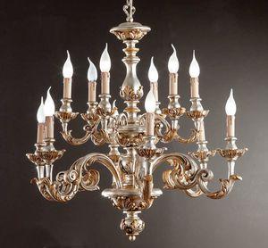 L.7445/6+6, Lampadario con decorazioni in argento e oro zecchino